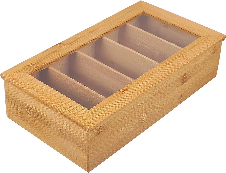 Cabilock Bamboo Tea Storage Cheap mail order shopping Box Wooden Organiz Kitchen Arlington Mall Chest