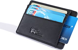 Genuine Full Grain Crazy Horse Leather Slim RFID Front Pocket Minimalist Wallet Credit Card Holder Designed for 10 Cards by Fiftyfolds