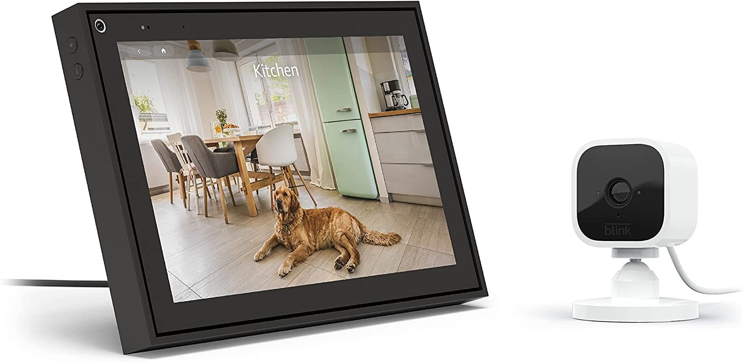 """Facebook Portal - Smart Video Calling 10"""" Touch Screen Display with Alexa - Black with Blink Mini – Compact Indoor Plug-in Smart Security Camera, 1080 HD Video, Works with Alexa – 1 Camera"""