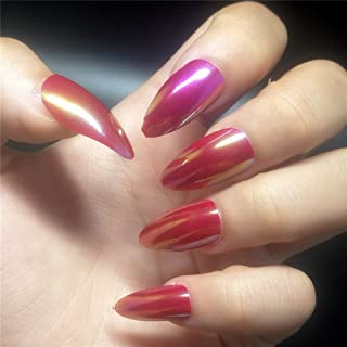 BloomingBoom Stiletto 24 Pcs 12 Size Full Cover False Fake Nail Artificial Press on Salon Design Women Claw Long Pointed Mountain Peak Pearl Rainbow Effect Laser Rose Red