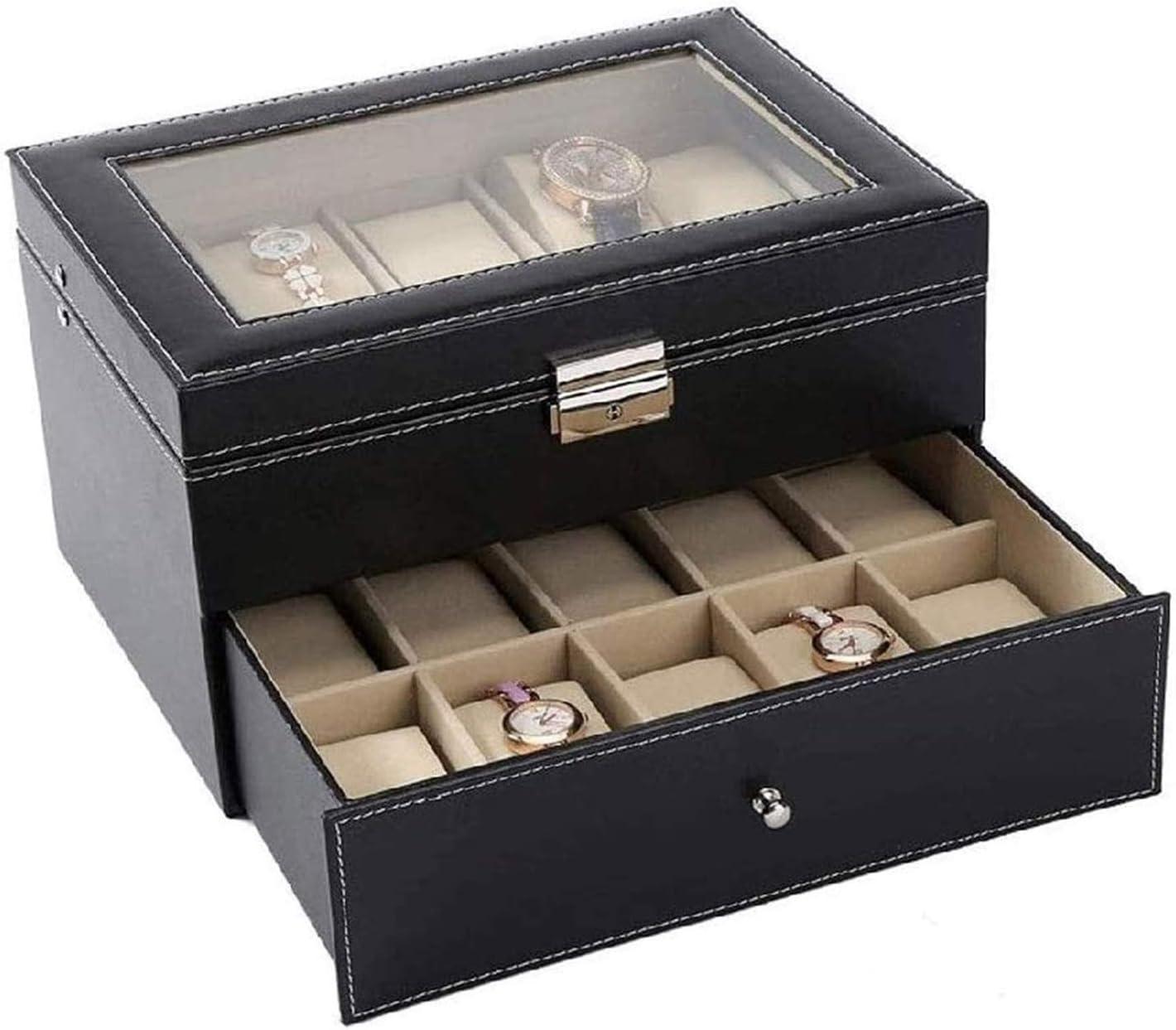 SSHA Free shipping New Jewlery Box Display Storage Case Hinge PU Latest item Black Metal Leath