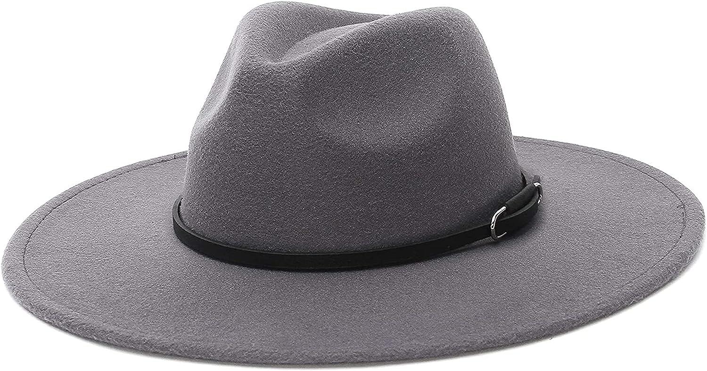 mimiliy Wide Brim Fedora Hat for Belt Classic Leather High quality new wholesale Women Fedo