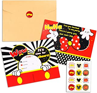 BEYUMI 36 PCS Mickey Party Invitation Cards Mickey Minnie Inspired Party Favor Supplies, Envelopes, Fill-in-Blank Cards and Stickers for Kids Birthday