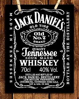 Jack Daniels Whiskey Label- Wall Art Sign- 8 x 10
