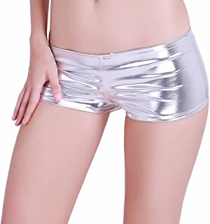 29cf6887f iEFiEL Womens Faux Leather Metallic Hipster Booty Shorts Lingerie Boyshorts  Panties