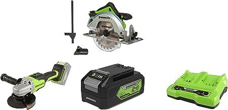 Greenworks Tools 1500907 Sierra Circular, 24 V + Amoladora angular inalámbrico GD24SAG + Batería G24B4 2ª generación + Batería de doble ranura Cargador universal G24X2C