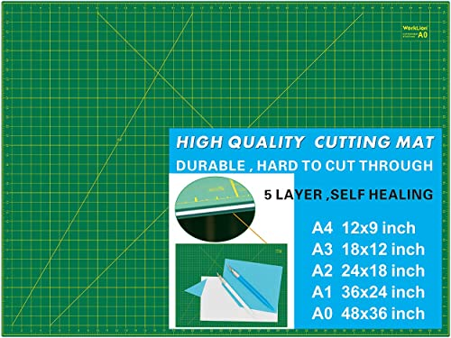 "WorkLion 36"" x 48"" Self Healing Cutting Mat: Double Sided 5-Ply Non-Slip - Professional for Scrapbooking & Quilting &..."