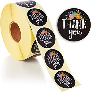 Juvale 1 Roll of 1000-Count Floral Thank You Label Stickers, 1.5 Inches