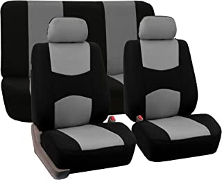 FH Group FB050112 Full Set Flat Cloth Car Seat Covers Gray/Black Color- Fit Most Car, Truck, SUV, or Van