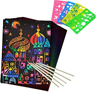 Playmate Scratch Paper Art Set, 50 PCS Rainbow Scratch Art Set with 5 Wooden Styluses and 4 Drawing Stencils for DIY Kids ...