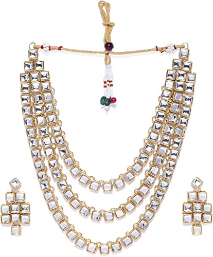 Gold Tone Multi Layer Traditional Necklace Set For Women ZPFK9007