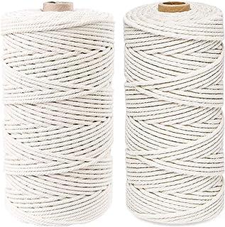 Lot de 2 fils pour macramé - 100 % coton naturel - Artisanat pour macramé - Décoration murale - Plante suspendue - 3 mm x ...