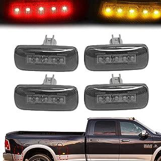 BASIKER BASIKER 5LED Side Marker LED Lights for 2010-2018 Dodge Ram 2500 HD 3500 4500 5500 Heavy Duty Dually Trucks Rear Wheel Bed Fender (2x Amber 2x Red)