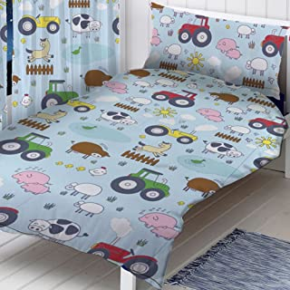 Zappi Farm Animals 2 Piece UK Single/US Twin Sheet Set, 1 x Double Sided Sheet and 1 x Pillowcase