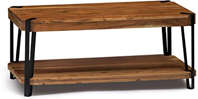 Alaterre Furniture Ryegate Natural Solid Wood with Metal Large Coffee Table, Live Edge