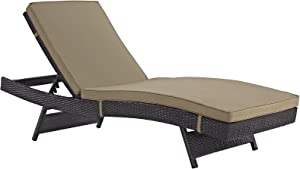 Modway Convene Wicker Rattan Outdoor Patio Chaise Lounge Chair in Espresso Mocha