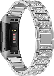 Shangpule Bling Bands Compatible with Fitbit Charge 3, Replacement Strap with Rhinestone Bracelet Wrist Band Accessories for Charge 3 SE Women Man Large Small(Silver)