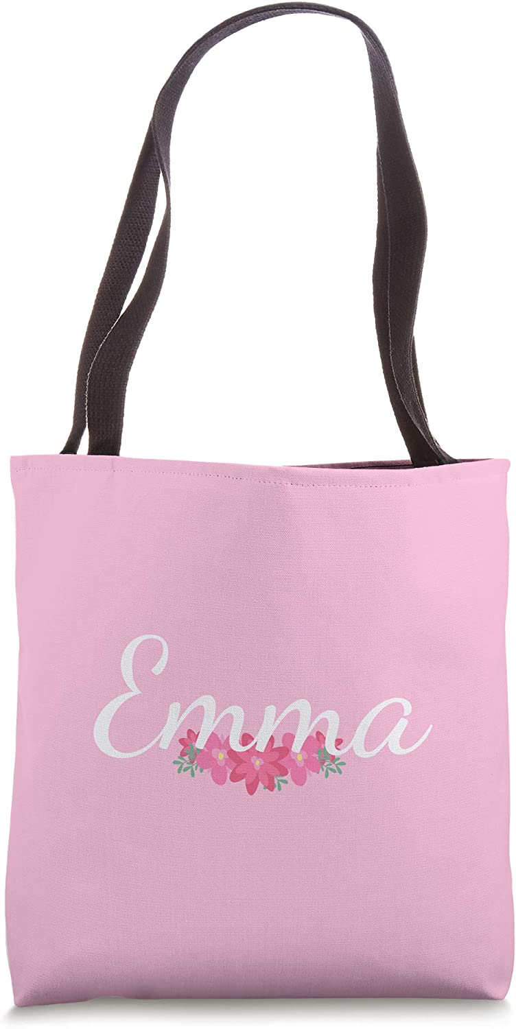 Custom Emma Gift Personalized Name Flowers Floral Pink Tote Bag