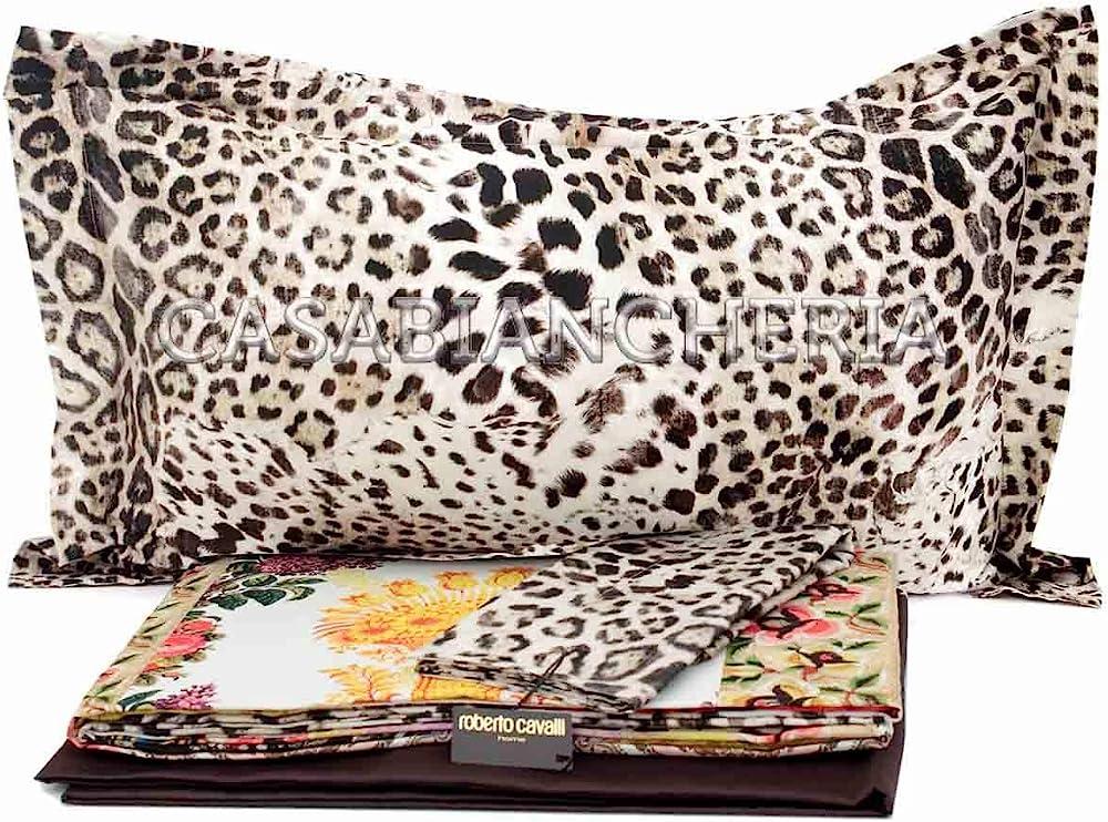 Roberto cavalli ,completo lenzuola per letto matrimoniale,100% raso di puro cotone