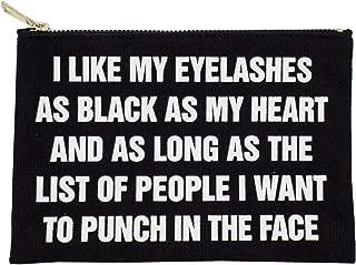 StylesILove Womens Girls 100% Cotton Canvas Stylish White Print I Like My Eyelashes Travel Cosmetic Case Makeup Bag Black Multi-use Pouch with Bold Gold Zipper (I Like My Eyelashes)