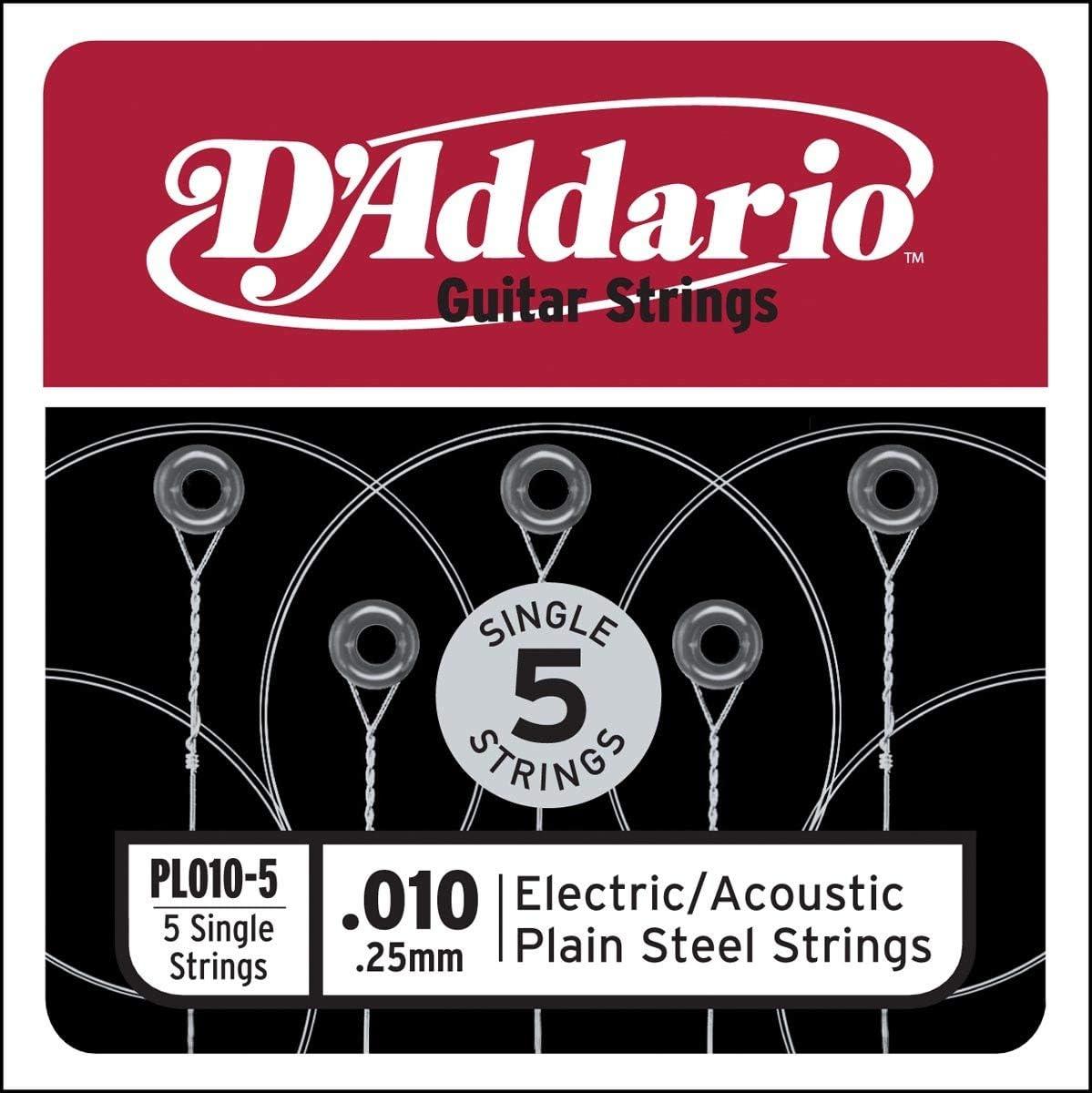 D'Addario PL010-5 - Juego de cuerdas para guitarra acústica, material de acero