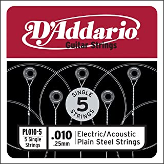 D'Addario PL010-5 Pack de 5 Cordes seules en acier pur pour guitare Calibre .010