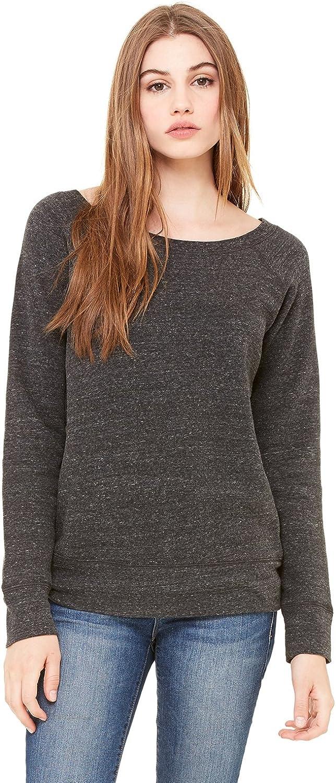 Bella + Canvas Womens Sponge Fleece Wide Neck Sweatshirt (7501)- CHAR-BLACK TRIB,L