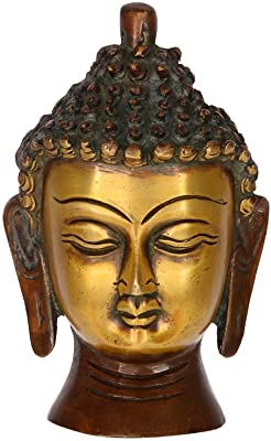 Purpledip Buddha Head In Pure Brass Metal: For Meditation or Decor (10952)