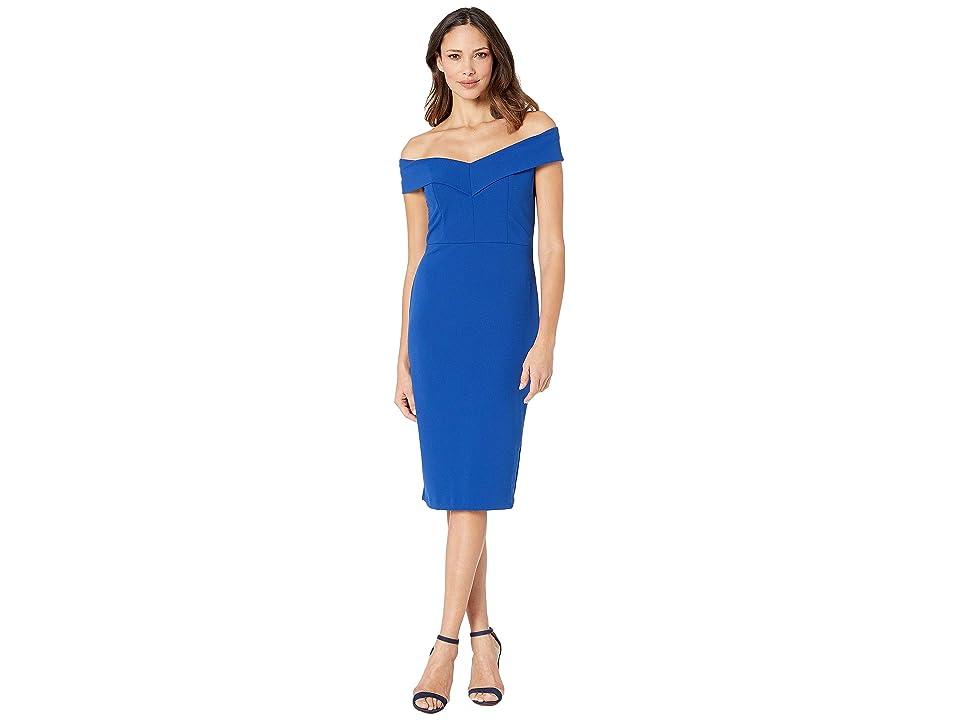 eci Off the Shoulder Sweetheart Neck Scuba Crepe Sheath (Blue) Women