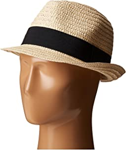 UBF1018 Solid Paper Braid Fedora with Ribbon Trim