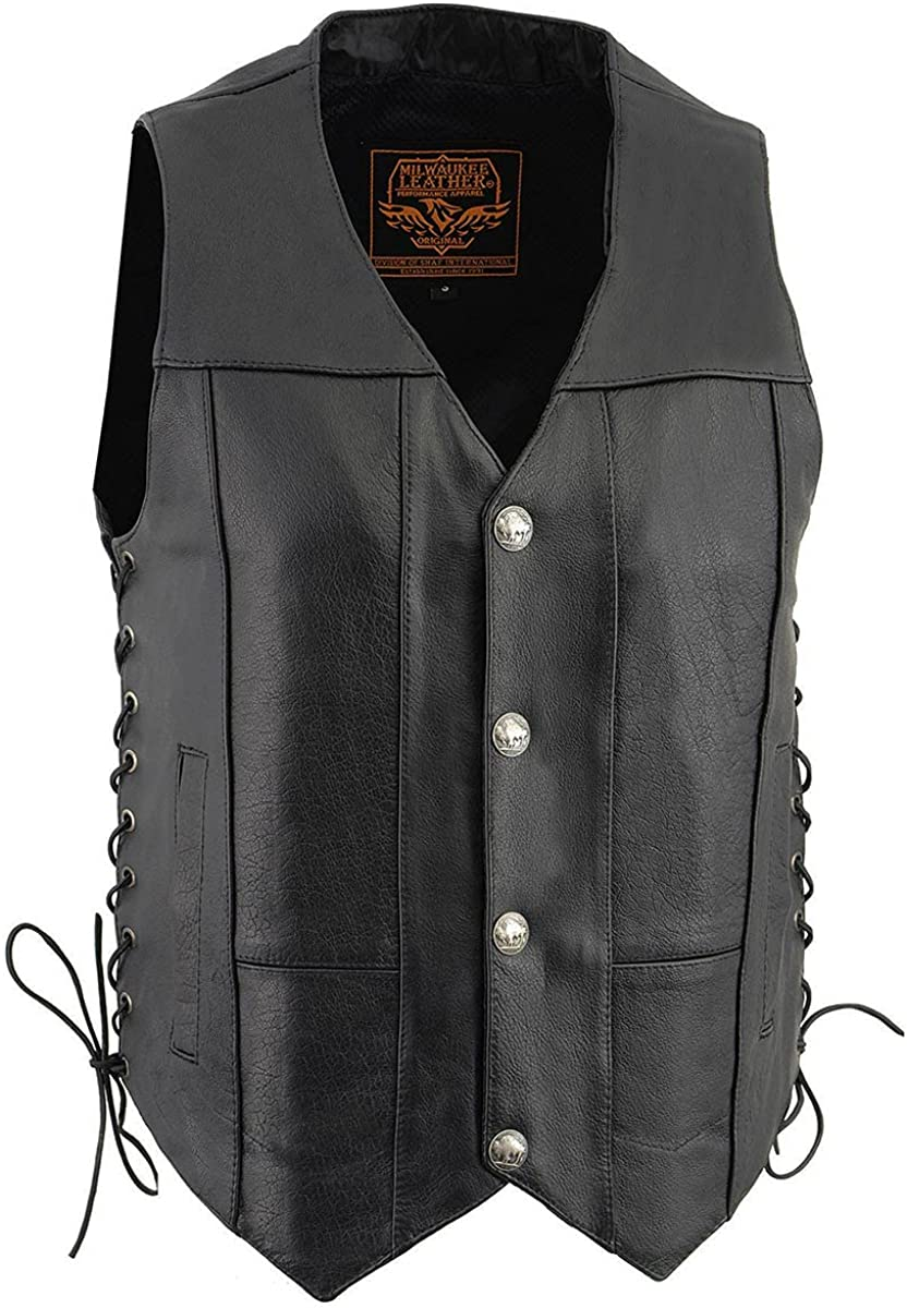 Milwaukee Leather LKM3701 Men's Side Lace Leather Vest with Buffalo Snaps