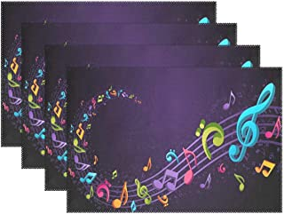 Place Mats Music Notes Purple Personalized Table Mats for Kitchen Dinner Table Washable PVC Non-Slip Insulation 1 Piece