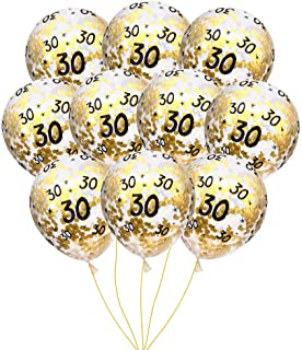 MeySimon 30th Birthday Decorations 15pcs Clear Balloons with Gold Confetti Filled Printed 30 Latex Balloon for Happy Thirty Year Old Theme Bday Party Supplies (30th Confetti)