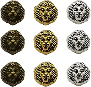 Youdiyla 36pcs Lion Spacer Beads, Antique Silver+Bronze+Gold Tone, Metal Hole Spacer Beads Charm, DIY for Necklace and Bracelets (HM197)