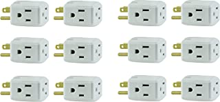 General Electric 58368 12 Pack 3-Grounded Outlet Adapter, White