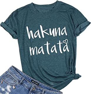 7063666550b9ce Hakuna Matata T Shirts Women Funny Letter Print Short Sleeve Casual Loose Graphic  Tee Tops