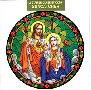 Sacred Heart of Jesus and Immaculate Heart of Mary Window Decal, Reusable Vinyl Suncatcher, Stained Glass Design