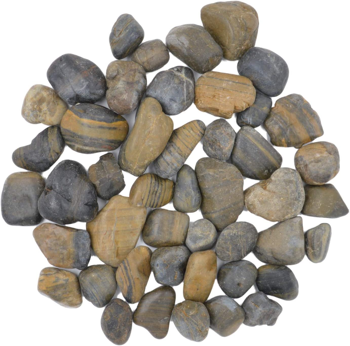 CNZ Polished Pebble Stone Striped 5 Super Philadelphia Mall beauty product restock quality top Plan Pounds for Inch 1.0-1.5