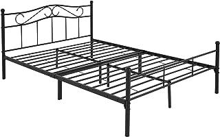 ML-Design Cadre de Lit Métallique 160 x 200 cm, Noir, 2 Personnes, en Acier, Revêtement en Poudre, avec Tête et Pied de Li...