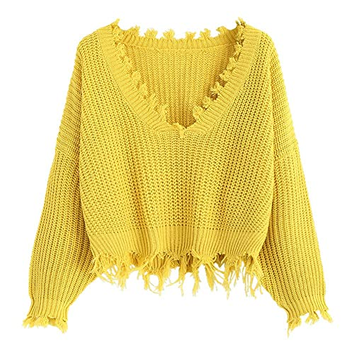 426d5e4cf8517d ZAFUL Women s Loose Long Sleeve V-Neck Ripped Pullover Knit Sweater Crop Top