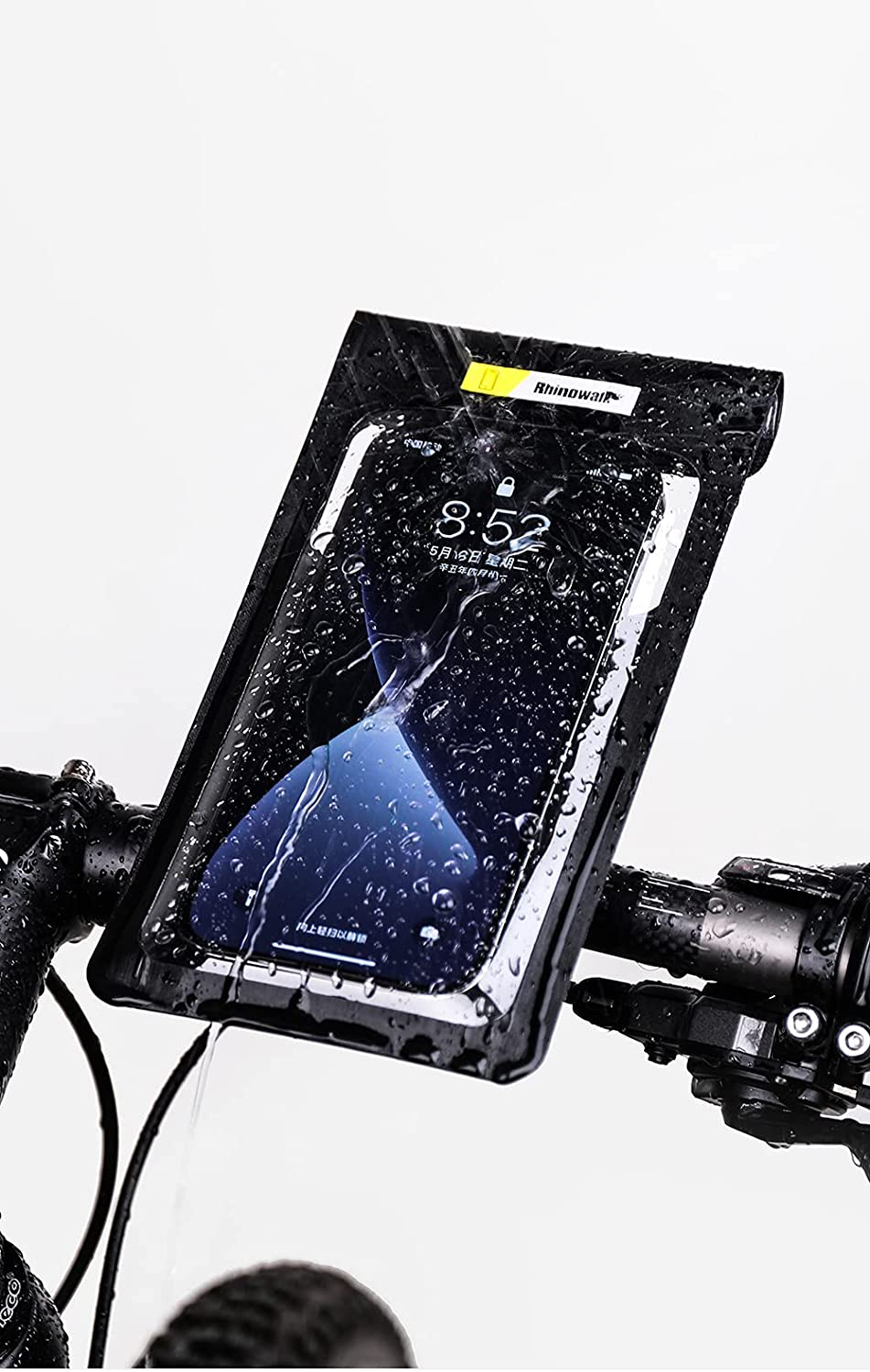 Bicycle Phone Bag Universal Waterproof Pouch Cellphone Dry Bag Case for Huawei Mate20X iPhone 12 Pro Max 11 Pro Max,Black