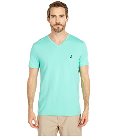 Nautica Short Sleeve V-Neck Tee (Green) Men