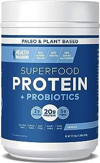 HEALTH WARRIOR Superfood Protein Powder, Vanilla, 18 Servings, 20g Plant-Based Protein, Vegan, Non-GMO, Gluten Free, Paleo, Stevia Free, Low Sugar, Probiotics and Prebiotics