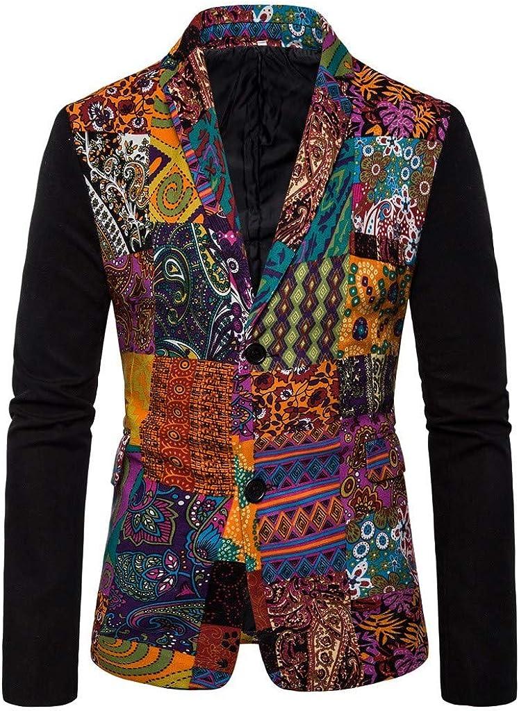 Suit for Men Wedding Slim Fit Forthery Men's Casual Floral Printed Sport Coats Blazer Jacket Mens Suits Sale(Red,M)