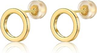 18K Gold Geometric Circle Earrings for Women Tiny Round Hoop Post Stud Minimalist Jewelry Unisex