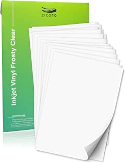 Premium Printable Vinyl Sticker Paper for Your Inkjet Printer - 15 Clear Waterproof Sheets - Dries Quickly and Holds Ink Beautifully