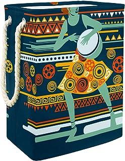 Panier à linge exotique pour femme jouant au djembé pliable avec poignées et supports amovibles et étanche pour organiser ...