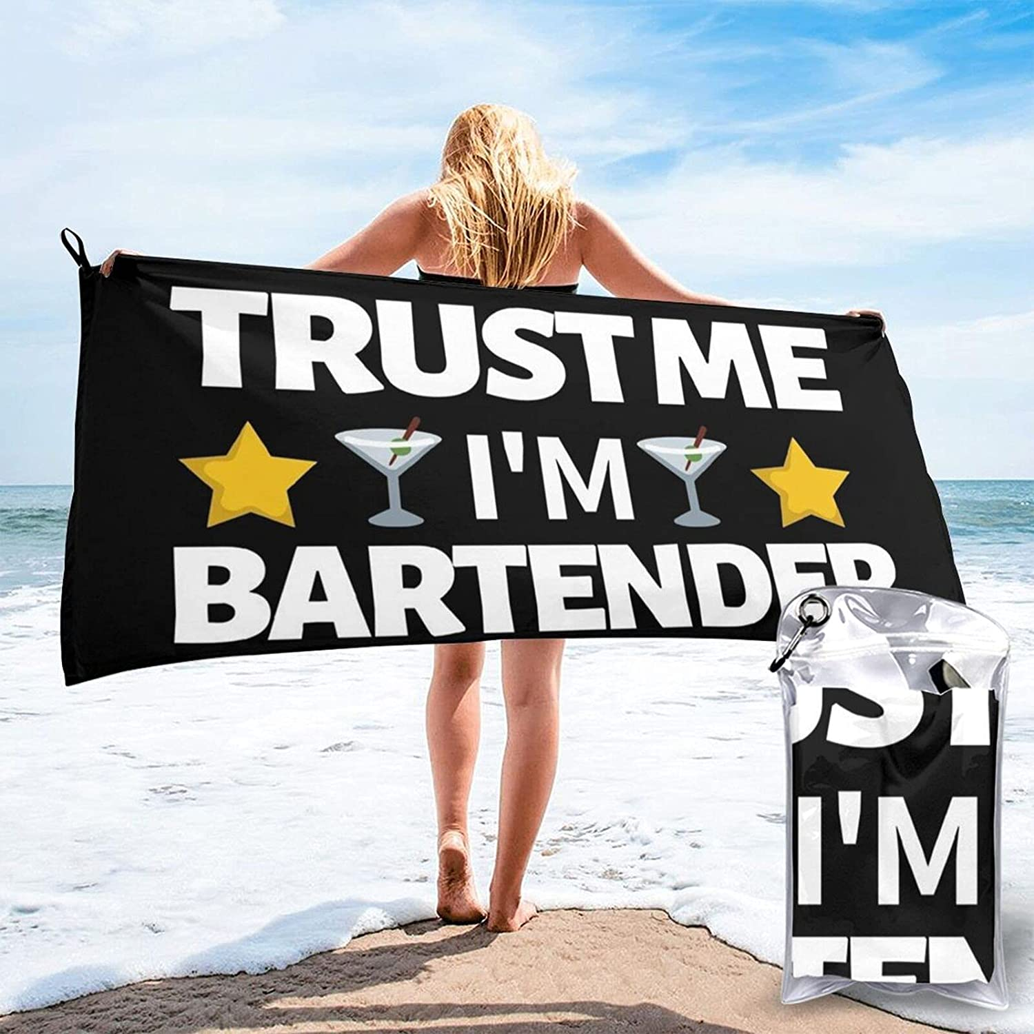 TrustMeI'mABartender Quick Drying Beach favorite Towel Carrying Ranking integrated 1st place a Ba with
