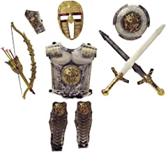 HALO NATION® Bahubali Warrior Set - Ninja Fancy Dress Kids Cosplay - Swords, Shield, Chest Armor ,Wrist & Leg Armour, Bow & 3 Arrows | King's Costume Dress (Silver)