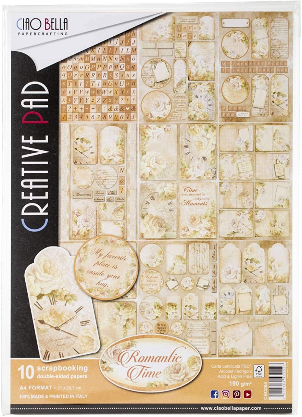 Ciao Bella CBC004 Romantic Time Double-Sided Paper Pack A4 10/Pkg